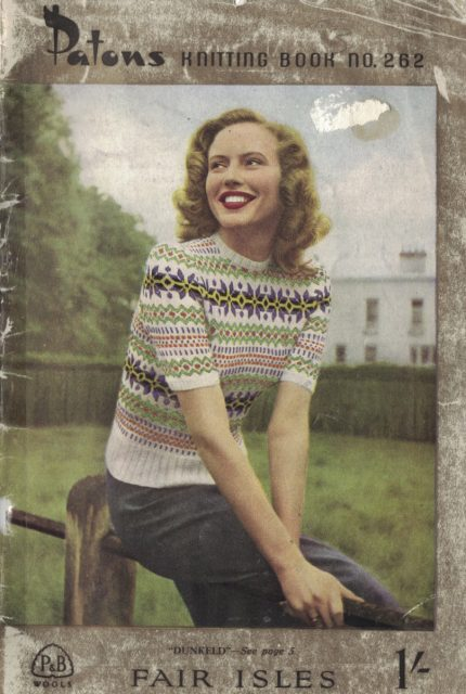 Patons knitting book no. 262, features a fair isle short sleeve knitted jumper on front cover