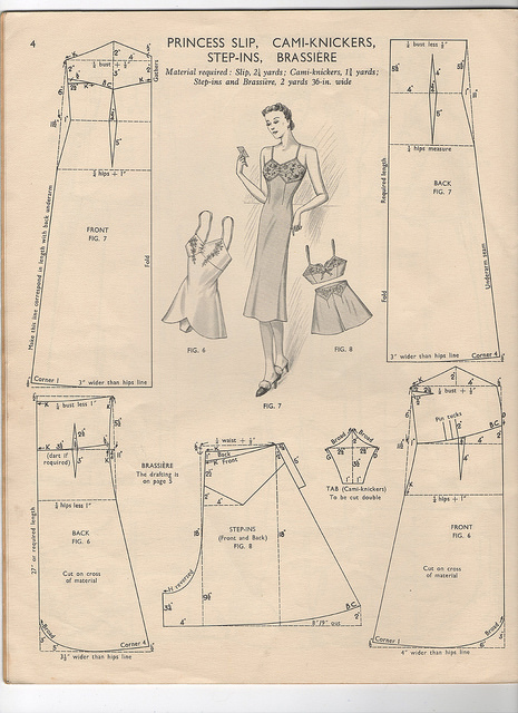 diagram for drafting vintage slips and knickers