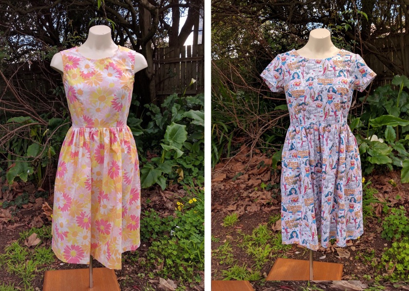 Two fit and flare dresses made in fun prints.