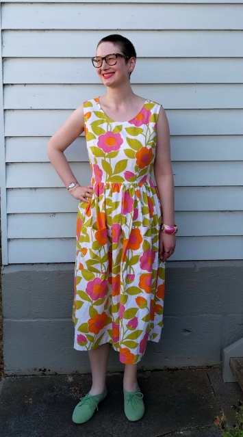 Fit and flare dress in a Marimekko style floral print.