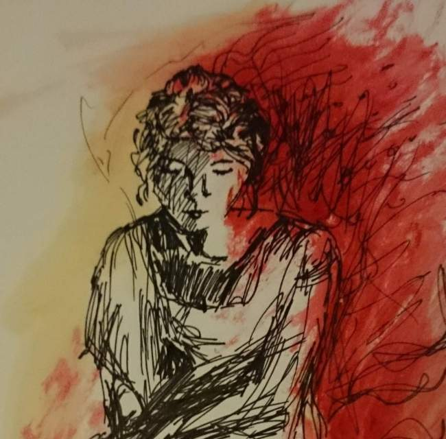 An ink sketch and painting of a seated woman. She looks down pensively. Red flames appear to emerge from her back.