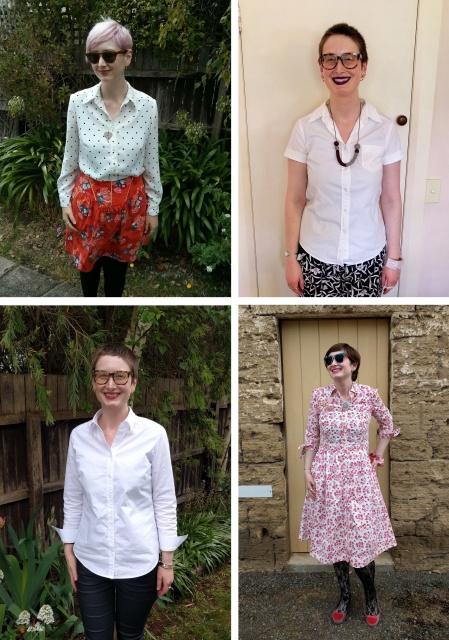Burda silk blouse pattern, sewn four ways.