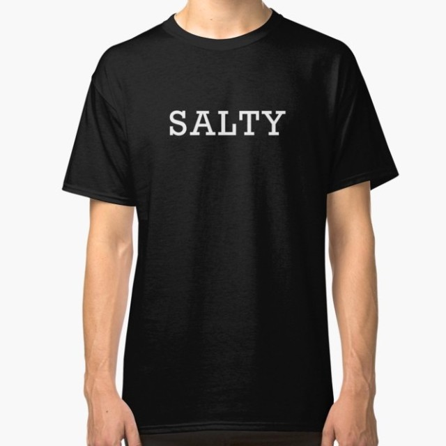 "Black t shirt with ""salty"" printed in white"